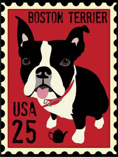 Boston Terrier art Poster Postage Stamp Series 11 x 14