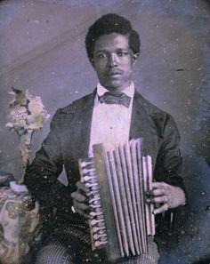 1850 Louisiana accordion player.