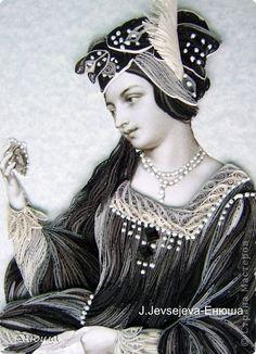 Картина, панно Квиллинг: Портрет прекрасной дамы + Мини МК Бумага. Фото 1