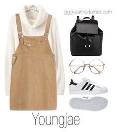 """College // Youngjae"" by suga-infires ❤ liked on Polyvore featuring adidas and Barneys New York"