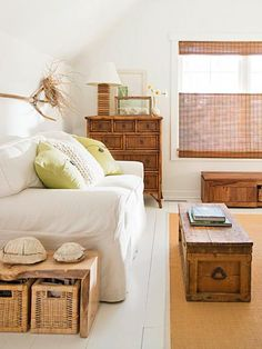 Low-cost painted pine floors add charm in an upstairs guest bedroom. More photos from this Door County cottage: http://www.midwestliving.com/homes/featured-homes/house-tour-budget-savvy-dream-cottage/?page=11