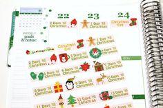 25 Christmas Countdown Stickers! Perfect for your Erin Condren Life Planner, Filofax, Kikkik, Plum Paper, scrapbooking! #SQ00302