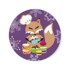 Fox pastry chef cupcakes cookies holiday sticker