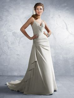 Alfred Angelo Bridal Gown Style #2183 Taffeta #weddingdress, Rhinestones, Pearls, Crystal Beading & Sequins, Optional Beaded Front Modesty Piece, Chapel Train   #AlfredAngelo