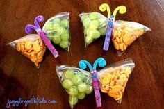 Kids could make them into Dragons this time. snack bags filled with healthy goodies, clip the middle with a painted clothes pin, add pipe cleaner antennae.cute snacks for the kids or a kids party. Johnson for preschool snacks? Cute Snacks, Snacks To Make, Snacks Für Party, Cute Food, Good Food, Snacks Kids, Class Snacks, Lunch Snacks, Picnic Snacks