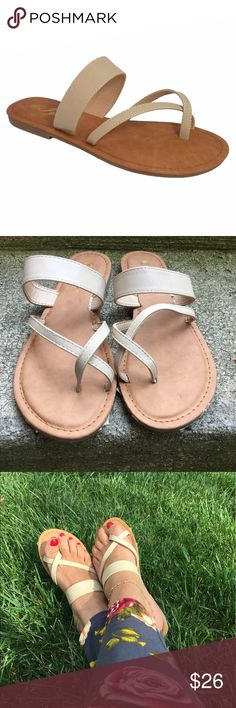 The Everyday Thong Sandal These sandals are oh so comfy! Slip them on and your on the go! Cushioned insole. Faux leather straps. Matches any outfit! Fits true to size Fabfindz Shoes Sandals