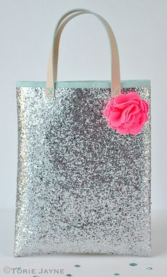 Handmade Silver glitter bag sewing tutorial