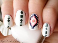 Tribal nail art like this manicure will be a huge hit at Coachella