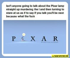 Funny pictures about The Pixar Lamp. Oh, and cool pics about The Pixar Lamp. Also, The Pixar Lamp. Funny Cute, The Funny, Hilarious, Dreamworks, Disney Pixar, Just For Laughs, Tumblr Funny, That Way, Laugh Out Loud