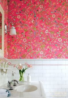 colorful wall paper decorated washroom, happy to see it everyday?