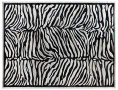 Custom Zebra rug shown in cream & ink #cowhide #exotic