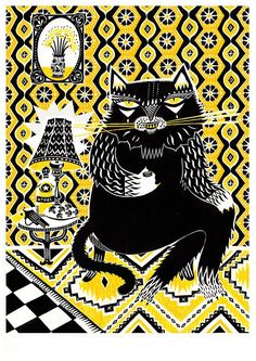 Portrait of the trouble-maker Behemoth from Bulgakov's Master & Margarita drinking his morning shot of vodka. 2 colour screen-print on. Bulgakov Master And Margarita, The Master And Margarita, Bad Cats, Typography Poster, Painting Patterns, Urban Art, Pretty Pictures, Screen Printing, Creatures