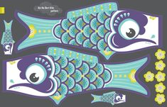 Koi No Bori Kite Pattern BLUE fabric by zesti on Spoonflower - custom fabric