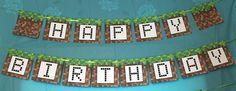 Minecraft Happy Birthday banner - free printable