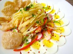 Salad With  Vegetables,  Egg, Assiago & Cicharon
