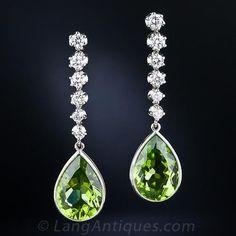 Peridot and Diamond Drop Earrings - 20-1-4811 - Lang Antiques