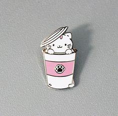 Paw-fee Enamel Pin, Kitty Cat Cute Lapel Pin Starbucks coffee brooch jewelry