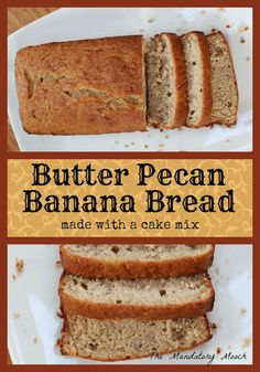 Butter Pecan Banana Bread Easy Baking Recipe Make with a Boxed Cake Mix & . - Baking - Make Bread Cake Mix Banana Bread, Cake Mix Muffins, Easy Banana Bread, Banana Bread Recipes, Banana Bread Recipe Made With Cake Mix, Banana Cakes, Pecan Recipes, Easy Baking Recipes, Cake Mix Recipes