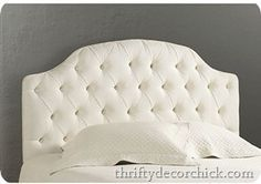 Tufted headboard with nailhead trim tutorial @brennajlynne - what im thinking for your room.