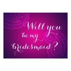 Elegant Pink Paisley Will You Be My Bridesmaid