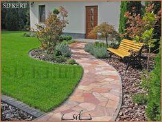 klasszikus kerttervezés Garden Furniture, Backyard Landscaping, Beautiful Gardens, Sidewalk, Exterior, Patio, Landscape, Outdoor Decor, Image