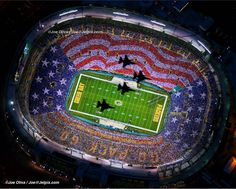 A beautiful salute to the troops at Lambeau Field, Green Bay, WI