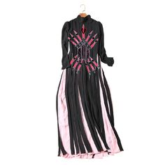 Touetleneck manga longa coração espada bordado mulheres moda vestido de chiffon patchwork vestidos plissados novo 2017 primavera preto rosa