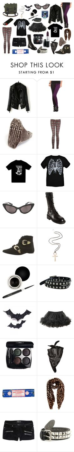 """""""That weird little goth kid."""" by scum-and-villainy ❤ liked on Polyvore featuring Current/Elliott, Luella, Ann Demeulemeester, Olive, ASOS, Nouba, Angie, Leg Avenue, Chanel and Oasis"""