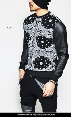 Punching Leather Sleeve Paisely Round-Tee