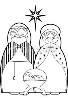 Cor Em Maria, José e Jesus Royalty Free Baby ilustrações vetoriais