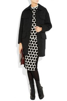 Chic polka dot dress & black jacket from  Marc Jacobs