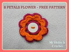 2 Layered 8 petal thread flower- Free crochet pattern with tutorial, wonderful ❥Teresa Restegui http://www.pinterest.com/teretegui/❥