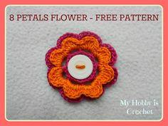 2 Layered 8 petal thread flower- Free crochet pattern with tutorial