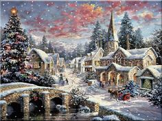 Thomas Kinkade Heaven on Earth Cross Stitch Pattern Christmas Scenes, Christmas Pictures, Christmas Art, Beautiful Christmas, Christmas Puzzle, Country Christmas, Christmas Desktop, Christmas Decorations, Christmas Night