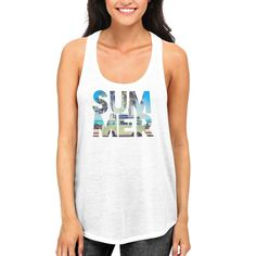 Summer Beach Funny Graphic Design Printed Women's White Tank Top