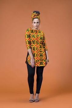 African print top with matching headwrap #africanfashionclothing