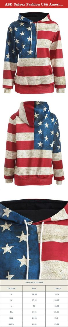 """ABD Unisex Fashion USA American Flag Print Slim Pullover Hoodie Sweatshirt. This American flag hooded pullover is great for showing off your patriotic side in style.It is suitable for autumn winter and spring this year. Both men and women can fit for it. Fashion, casual, high quality but affordable is ABD store. Features: Package Content:1 x Women's hoodies Material: Polyester NOTE:Please compare the detail sizes with yours before you buy!!! Size Details S---------- Bust 92cm/35.88""""..."""