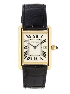 """Classic, vintagey-looking men's timepieces–my Franck Muller, Cartier, and Hermès."" Cartier watch, $9,300, 800-CARTIER."