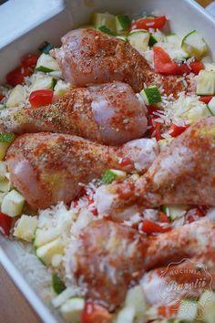 Kurczak zapiekany w ryżu z warzywami - danie przygotujesz w piekarniku Vegan Cabbage Rolls, Fussy Eaters, Paleo, Lose Weight, Food And Drink, Chicken, Dinner, Cooking, Recipes