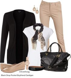 Business casual work outfit: black cardigan, white tee, khaki skinnies, polka dot scarf. I'd wear with black heels.