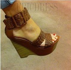 Comfortable Wedge Heel Ankle Strap Buckle High Heel Sandals Wedge Sandals