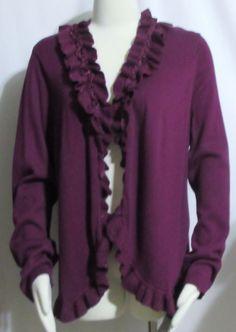 NEW Womens Ladies Plus CHARTER CLUB Purple Ruffled Open Cardigan Sweater 1X  #CharterClub #OpenCardigan #Versatile