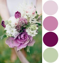 This week's color palette inspiration was created from this beautiful plum and mint wedding bouquet.