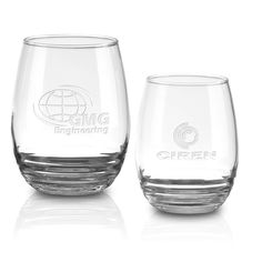 Eminence Collection. These Etched Stemless Wine Glasses. #3939E Red Wine (17 oz.) and #3838E White Wine (11 oz.) feature a rippled glass base.