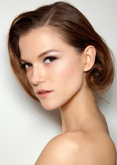 July Beauty Looks-brown hair updo with blushed lips