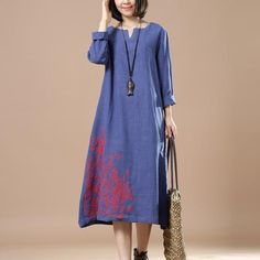 Blue Women Loose Autumn Long Dress - BUYINDRESS