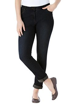 Womens Plus Size Jean Skinny Tapered Leg In Stretch Denim 5Pockets Black -- Continue to the product at the image link.(This is an Amazon affiliate link and I receive a commission for the sales)