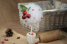 Organza Topiary With Cherry >>> To view further for this item, visit the image link.