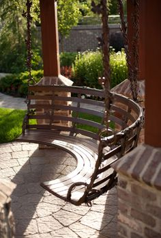 Backyard Porch/Patio Swing Don't love the materials, but I like the shape/idea Outdoor Rooms, Outdoor Gardens, Outdoor Living, Outdoor Decor, Dream Garden, Home And Garden, Backyard Swings, Outdoor Swings, Garden Swings