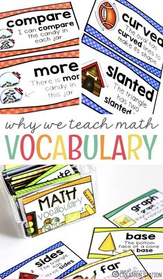 Math Vocabulary is So Important to use in our classrooms. We want our students to Math Vocabulary Wall, Math Wall, Math Word Walls, Math Literacy, Vocabulary Cards, Vocabulary Activities, Guided Math, Kindergarten Math, Math Resources